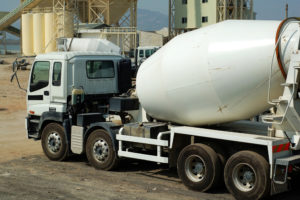 Cememt mixer trucks in the plant