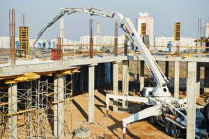 construction building works with automobile concrete pump
