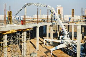 construction building works with automobile concrete pump